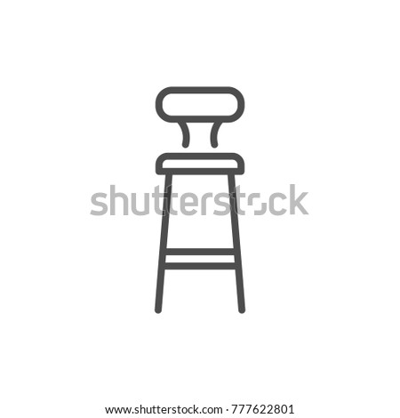 Bar stool line icon isolated on white