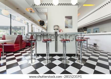 bar stools in a american diner restaurant Сток-фото ©