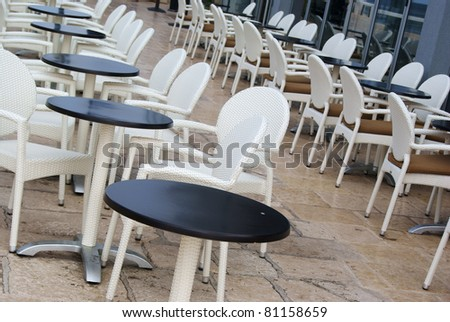 Bar tables with chairs
