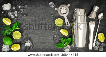 Bar tools. Ingredients for mojito lime, mint leaves, ice. Cold drink