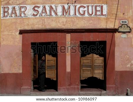 bar with swinging doors in san miguel de allende mexico