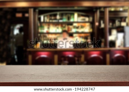 bar with waiter and free space on tabletop  #194228747