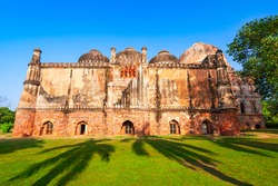 Bara Gumbad Mosque and tomb at the Lodi Gardens or Lodhi Gardens, a city park situated in New Delhi city in India