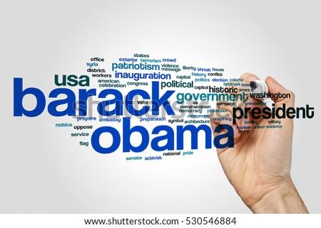 Barack Obama word cloud concept