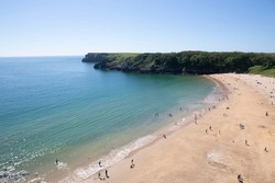 Barafundle Bay beach from above