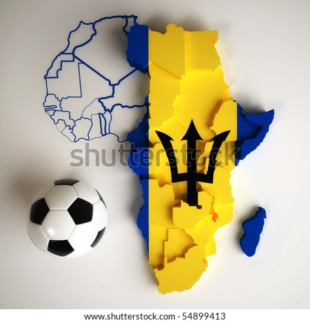 Barbadian flag on map of Africa with national borders