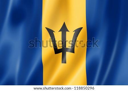 Barbados flag, three dimensional render, satin texture