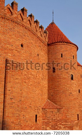 Barbakan fortification wall and tower in Warsaw