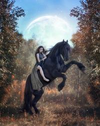 Barbarian girl astride a rearing black Friesian horse