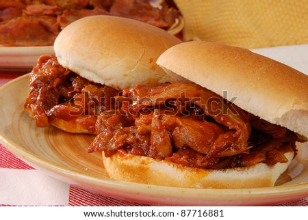 Barbecue beef sandwiches on a bun