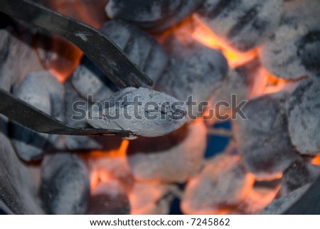 Barbecue charcoal briquettes are red hot as a cook prepares them to cook food.