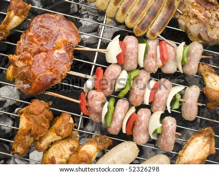 Barbecue. Different kind of barbecue products