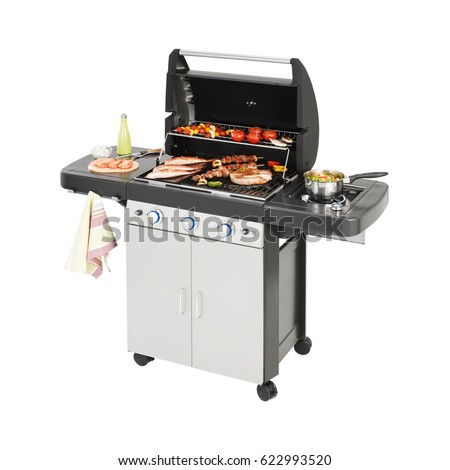 Barbecue Gas Grill with Food Isolated on White Background. Stainless Steel and Black BBQ Grillware Gas Grill. Outdoor Cooking Station. Outdoor Grill Table