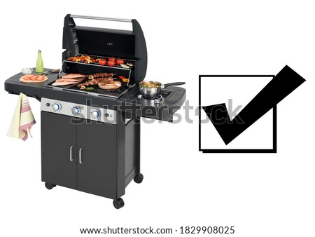 Barbecue Gas Grill with Food Isolated on White Background. Stainless Steel & Black BBQ Grillware Gas Grill. Outdoor Cooking Station. Grill Table. Front Side View Outdoor Major Kitchen Appliances
