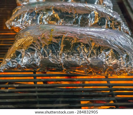 Barbecue Grill cooking seafood. background eat Restaurant