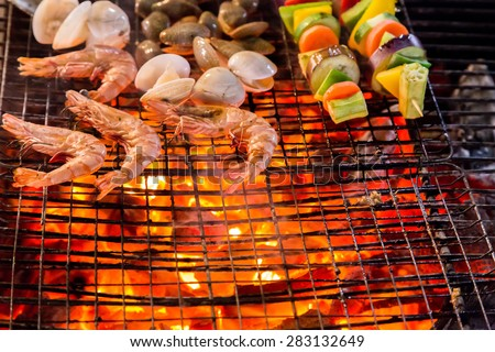Barbecue Grill shrimp cooking seafood. background eat Restaurant