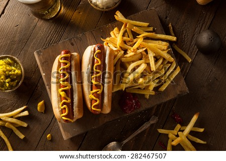 Barbecue Grilled Hot Dog with Yellow Mustard