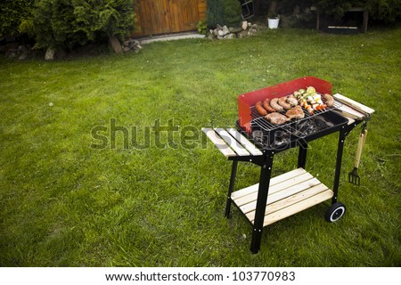 Barbecue in the garden, really tasty dinner!