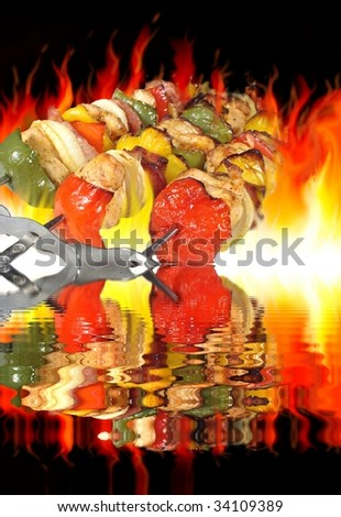 barbecue on background of flames