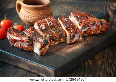 Barbecue pork spare ribs flat lay