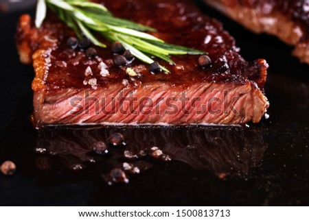Barbecue Rib Eye Steak or rump steak - Dry Aged Wagyu Entrecote Steak on table