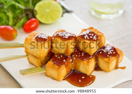 Barbecue Tofu with salad - stock photo