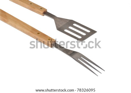 barbecue utensils on white background