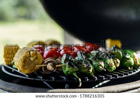 Barbecue vegetables. Grilling vegetables. Grilling corn, mushrooms, tomatoes, paprikas on a kamado grill. Grilled vegetable close up on a grill, top view. Homemade vegan barbecue, vegetarian barbecue