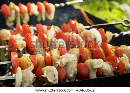 Barbecue with tomatoes over carbons