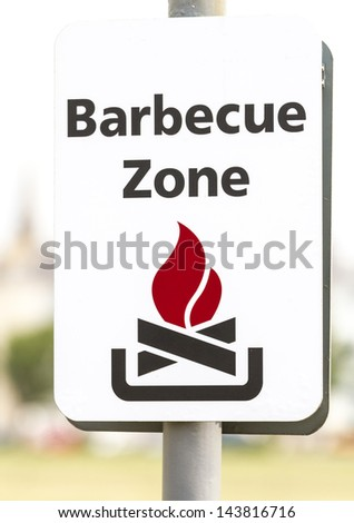 Barbecue zone sign with fire symbol
