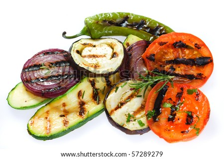 Barbecued healthy vegetable isolated on white background