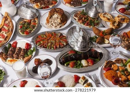 Barbecued Turkish kebabs on table