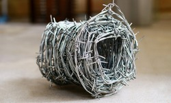 Barbed wire coils on blur background.