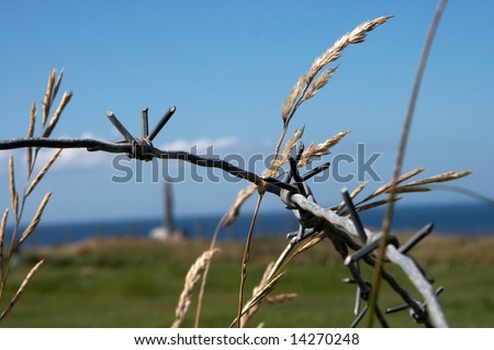 Barbed wire detail at Pointe-du-Hoc memorial, Normandy, France, where the Rangers climbed the cliffs during D-Day, WWII