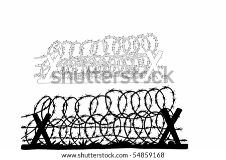 barbed wire font. stock photo : arbed wire