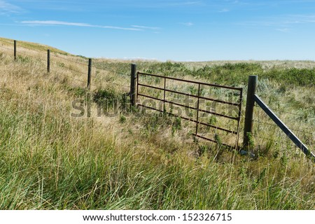 Barbed wire fence and gate across overgrown grasses near Fort MacLeod, Alberta, Canada