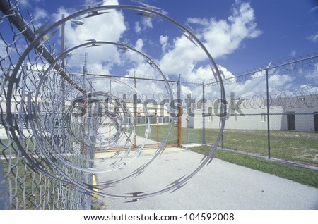 Barbed wire fence at Dade County Men's Correctional Facility, FL