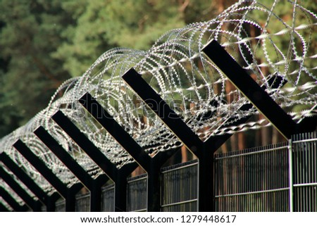 Barbed wire fence, border, border fence #1279448617