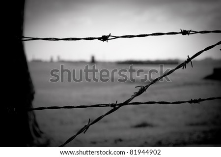 barbed wire fence in concentration camp in Majdanek in Poland