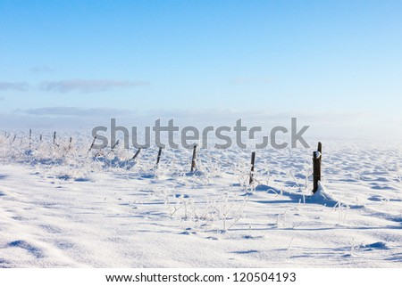Barbed wire fence with snow covered ground and fog