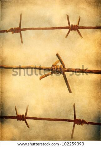 Barbed wire, grunge background