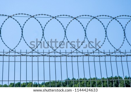 Barbed wire on a wire fence. #1144424633