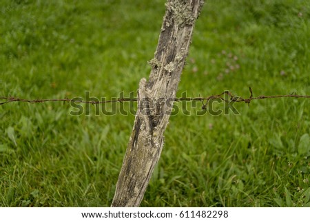 Barbed wire on a wooden stick fence enclosing a field at countryside with green field in the background #611482298
