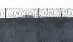 Barbed wire on concrete wall.