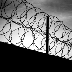 Barbed wire on dark fence. Monochrome silhouette photo