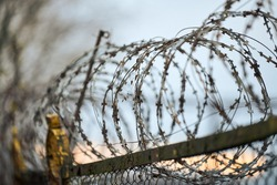 Barbed wire on fence of restricted area. No unauthorized entry. Old fence of military border territory