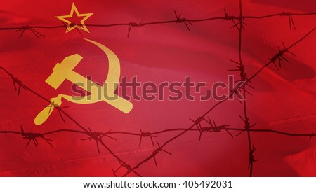 Barbed wire on the background of the flag of the USSR