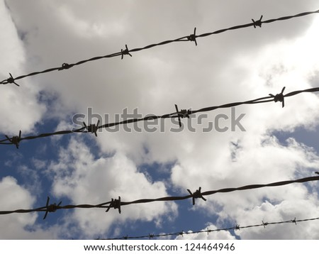 Barbed wire with a cloudy sky background