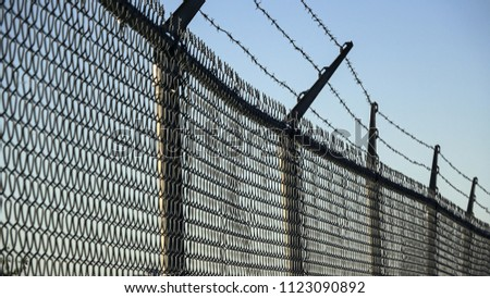 Barbed wires and steel wire mesh fence #1123090892