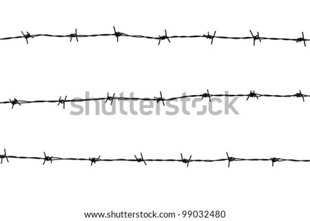 Barbed wires isolated on white background